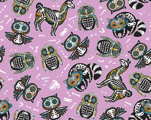 Owl, penguian, llama and raccoon sugar skull. Vector background illustration
