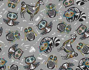 Owl, penguian, llama and raccoon sugar skull. Vector background illustration