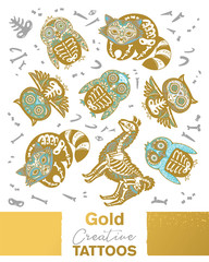 Owl, penguian, llama and raccoon sugar skull in metallic gold, silver and blue colors. Vector animals skeleton