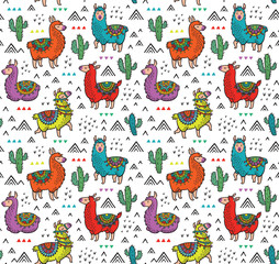 Vector seamless pattern with cute colorful alpacas, cactuses and triangles