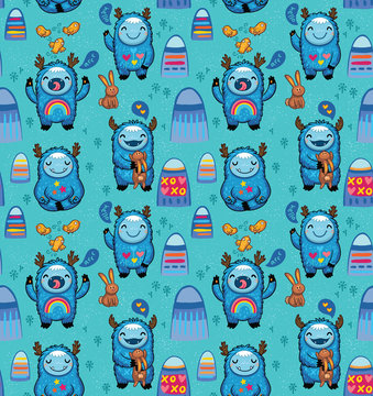 Cute monsters seamless pattern on a blue background. Vector cartoon characters with blue yetis fun and play