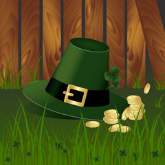 Leprechaun hat with fhree-leafed clover and golden coins on background with green grass and wooden garden fence. St. Patrick s day, Money, gold, spring, Saint, Patrick, holiday, nature, luck