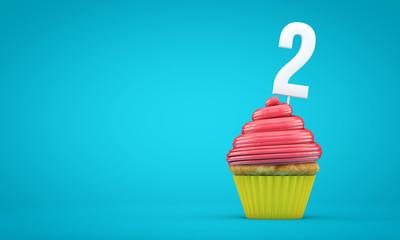 Number 2 birthday celebration cupcake. 3D Rendering