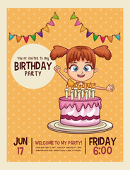 Happy birthday invitation kids card vector illustration graphic design