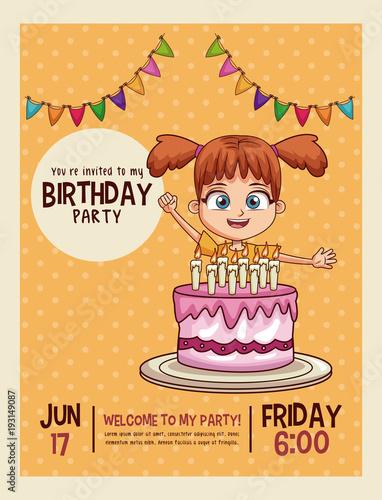 Happy birthday invitation kids card vector illustration graphic happy birthday invitation kids card vector illustration graphic design stopboris Choice Image