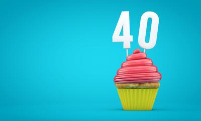 Number 40 birthday celebration cupcake. 3D Rendering
