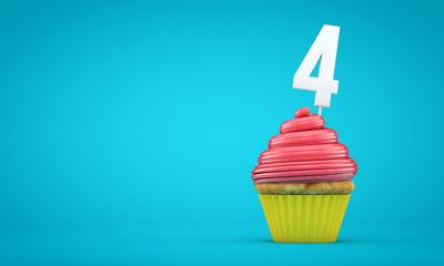 Number 4 birthday celebration cupcake. 3D Rendering