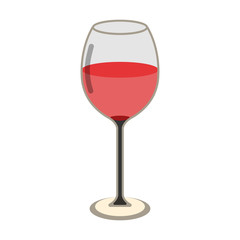 Glass of Wine Icon. Love and Gifts for Web on white background. Flat Vector Illustration