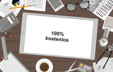 Schreibtisch mit Tablet - 100% kostenlos
