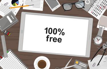 Schreibtisch mit Tablet - App - 100% kostenlos