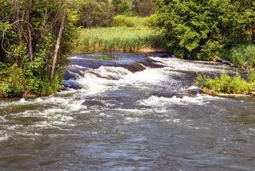 Бурный поток воды на пороге в речке среди деревьев.
