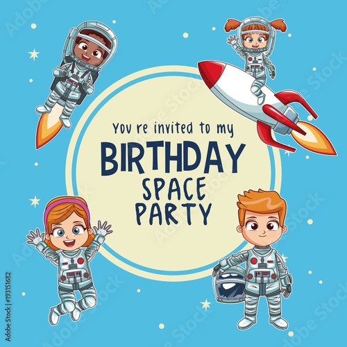 Happy birthday invitation card astronauts kids cartoons vector happy birthday invitation card astronauts kids cartoons vector illustration graphic design childhood space party stopboris Choice Image