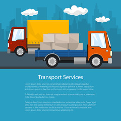 Flyer of Road Transport and Logistics, Small Covered Truck and Cargo Van with Boxes go on the Road, Shipping and Freight of Goods, Poster Brochure Design, Vector Illustration