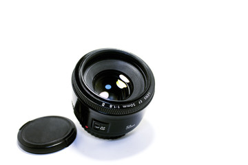 Outdoor camera lens isolated on white background