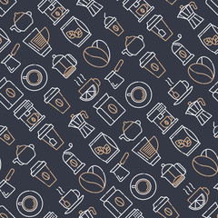 Coffee and tea seamless pattern with thin line icons: take away paper cups, cezve, coffee machine, teapot, cappuccino, cup, tea with lemon, grinder. Modern vector illustration.