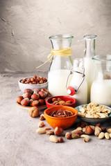 Alternative types of milks. Vegan substitute dairy milk.