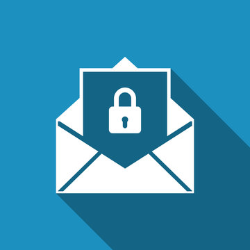 Secure mail icon isolated with long shadow. Mailing envelope locked with padlock. Flat design. Vector Illustration
