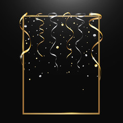 Gold serpentine and confetti isolated on black  background. Vector illustration.