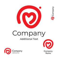 Modern Line Heart Logo Love Identity Brand Commercial Symbol Icon Concept Set Template