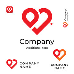 Modern Red Heart Line Logo Love Identity Brand and App Icon Symbol Commercial Concept Set Template