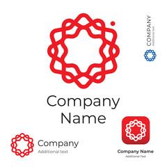 Modern Stylish Flower Line Swirl Logo Identity Brand Symbol App Icon and Button Concept Set Template