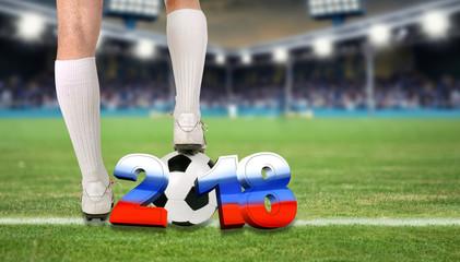 Wall Mural - Fußball - Spieler mit Ball im Stadion
