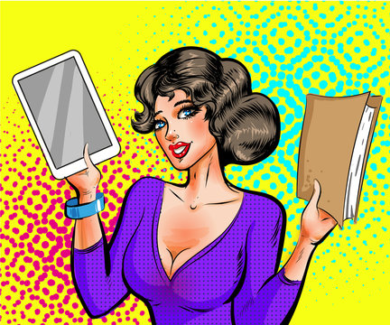 Vector pop art beautiful woman with book and e-reader