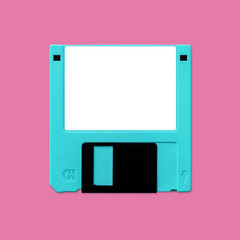 Floppy disk 3.5 Inch nostalgia, isolated and presented in punchy pastel colors, for creative design cover, CD, poster, book, printing, gift card, flyer, magazine, web & print
