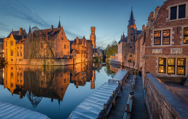 Historic city of Brugge in twilight, Flanders, Belgium