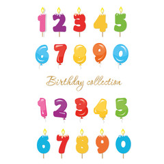 Balloon and candle colorful numbers. Birthday party and celebration design elements set.