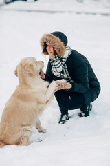 Image of labrador giving paw to girl in black jacket on winter day