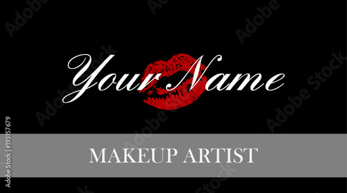 Makeup artist business card business cards template with red trace makeup artist business card business cards template with red trace kiss lips print elegant wajeb Image collections