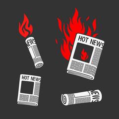 Set of Symbols Newspaper Hot News