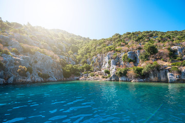 Sea, near ruins of the ancient city on the Kekova island, Turkey