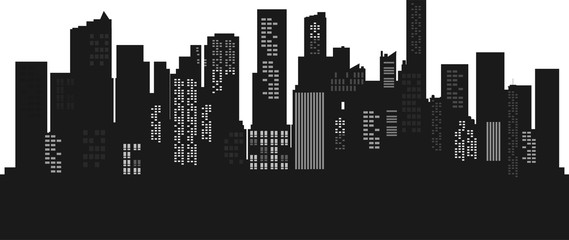 Silhouette Cityscape background. Buildings flate style. Modern architecture. Urban landscape. Horizontal banner with megapolis panorama. Vector illustration. copy space for text.