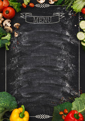 Black chalkboard as mockup for restaurant menu