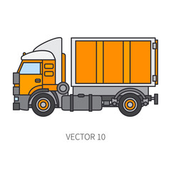 Color flat vector icon construction machinery truck container. Industrial style. Corporate cargo delivery. Commercial transportation. Building business. Diesel trailer power. Illustration for design.