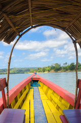 Boat sailing on Usumacinta river, Chiapas, Mexico