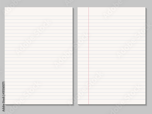 Set Of Realistic Blank Sheets Of Lined Paper   Vector Isolated  Blank Sheet Of Paper With Lines