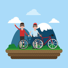 Friends on bikes cartoon vector illustration graphic design