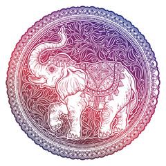 Beautiful elephant inside floral round frame.