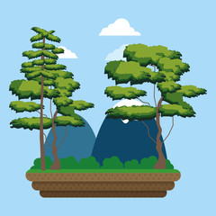 Mountains and trees landscape cartoon vector illustration graphic design