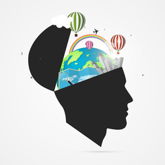 Mind of traveler. Creative concept with open head. Vector