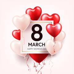 Women's day red background with balloons, heart shape. Love symbol. March 8. I love you. Spring holiday.