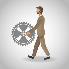 Businessman pushing gear vector illustration graphic design