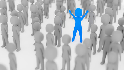 Blue figure standing out in crowd
