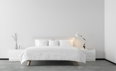 Minimal style bedroom 3d rendering image.There are concrete floor,Decorate wall with white wood lattice and finished with white furniture.