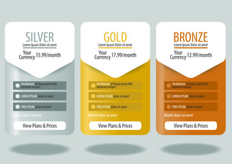 Collection of pricing plans for websites and applications. Hosting table banner. Vector illustration