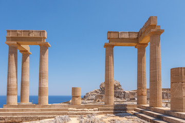Destroyed columns of the ancient city of Lindos, Greece