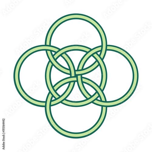 Vector Symbol Five Fold Celtic Knot Five Elements Gaelic Circle